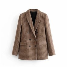 double breasted autumn winter blazer women 2020 office ladies vintage suit jacket plaid warm casual coat outwear femme(China)