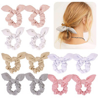 Bunny Ears Hair Scrunchies Elastic Hair Bands Striped Hair Ties Bowknot Scrunchie Sweet Ponytail Holder Girls Hair Accessories