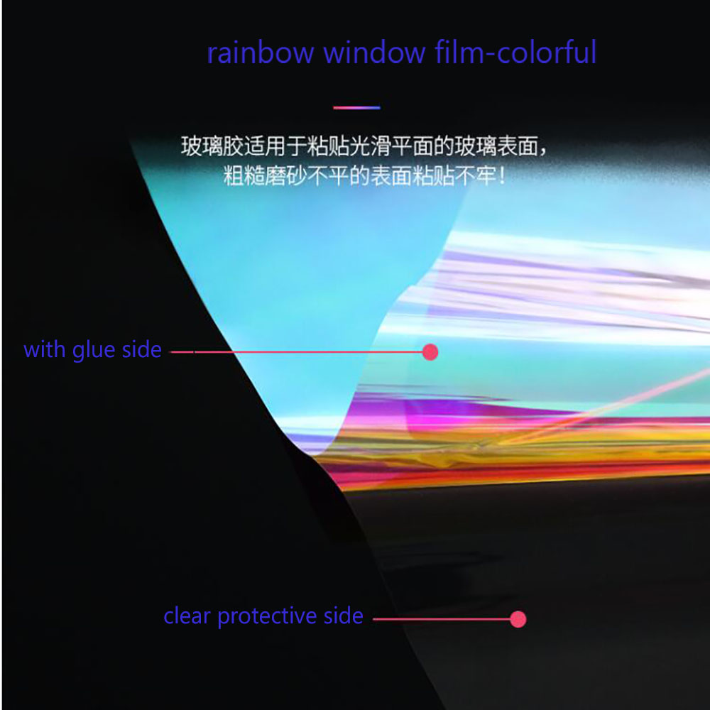 HOHOFILM Rainbow window Film Iridescent Rainbow Window Film for home restaurant self adhesive Sticker|Decorative Films| |  - title=