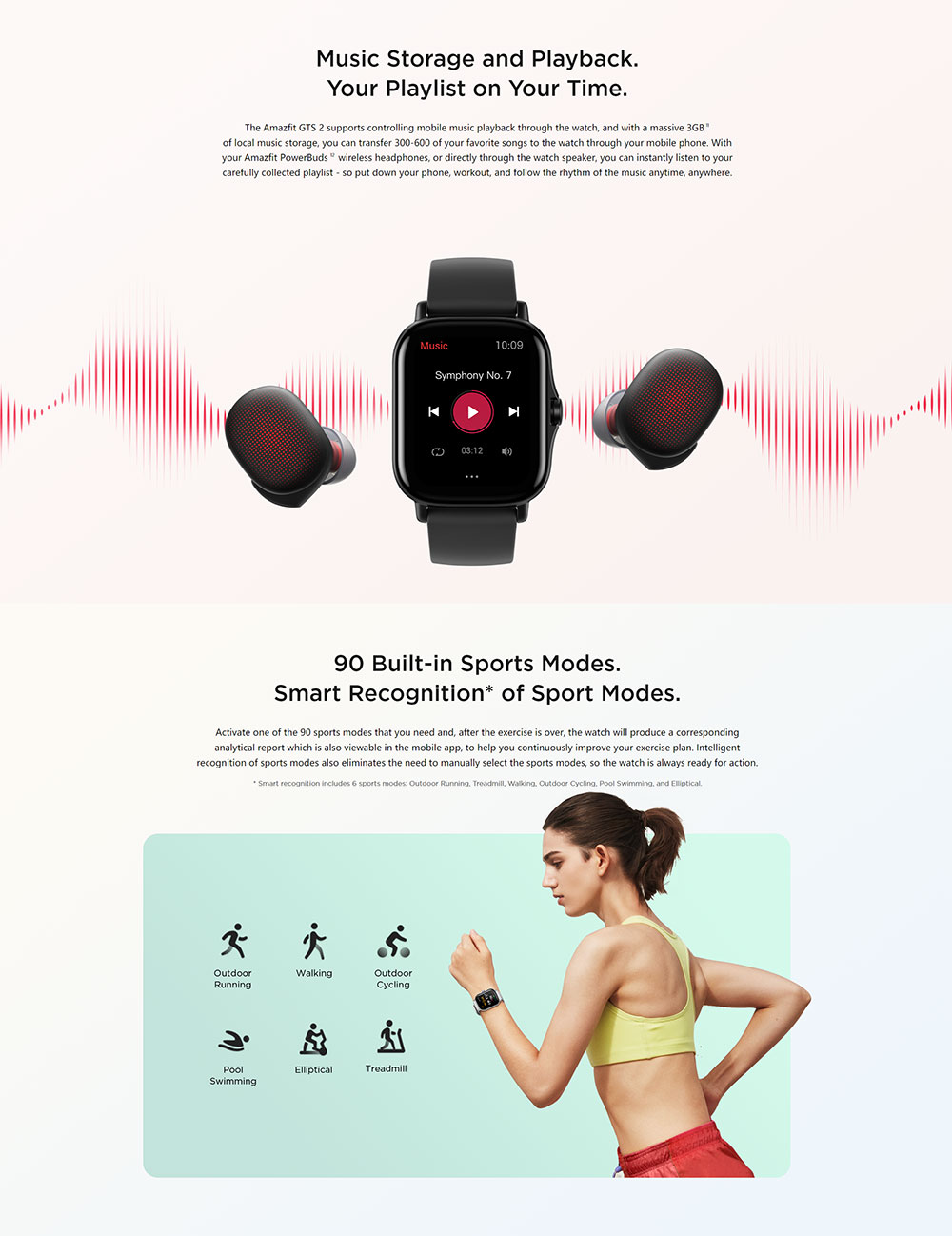 Amazfit gts 2 smartwatch 5atm à prova