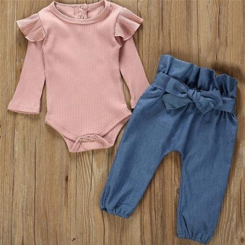 2PCS Children Suit Fashion Toddler Kids Baby Girls Clothing Set Pink Beige T-shirt Tops + Jean Denim Pants Outfits 1