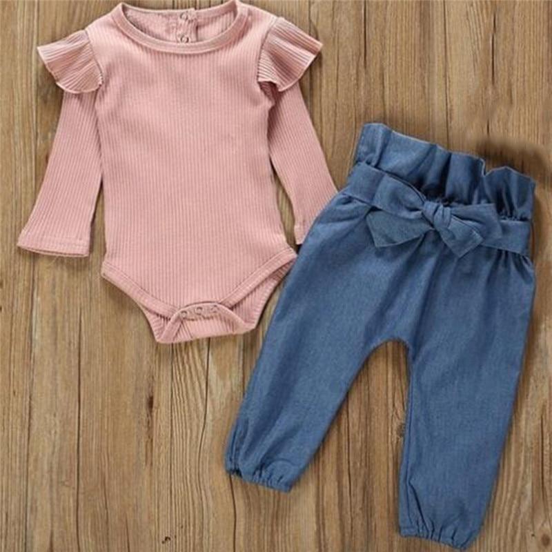 2PCS Children Suit Fashion Toddler Kids Baby Girls Clothing Set Pink Beige T-shirt Tops + Jean Denim Pants Outfits 1
