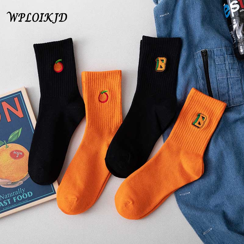 2019 College Style Cotton Simple Embroidery Letter Orange Pattern Socks Women Personality Breathable Black Color Funny Socks