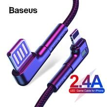 Baseus USB кабель для iPhone XR Xs Max 8 7 Plus 2.4A Быстрая зарядка светодиодный светильник локоть Зарядное устройство USB кабель для передачи данных для мобильного телефона