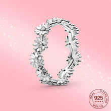 NEW Real ring daisy 925 Sterling Silver Fresh flowers Sparkling CZ ring Couple wedding ring for women Couples gift