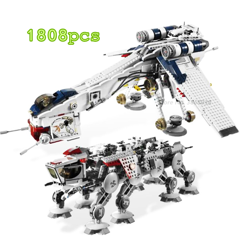 IN STOCK <font><b>05041</b></font> 05053 Genuine Star Was Republic Dropship with AT-OT Walker Set Building Blocks Bricks Compatible Lepines 10195 image