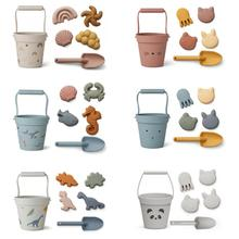 Silicone Children Beach Toys 6 Pcs Kit Baby Summer Digging Sand Tool With Shovel Water Game Play Outdoor Toy Set Sandbox For Kid