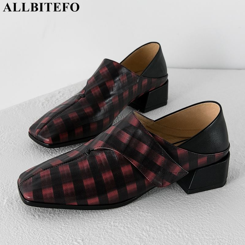 ALLBITEFO Fashion Brand High Heels Women Shoes Square Toe Thick Heel Office Ladies Shoes Women Heels Women High Heel Shoes