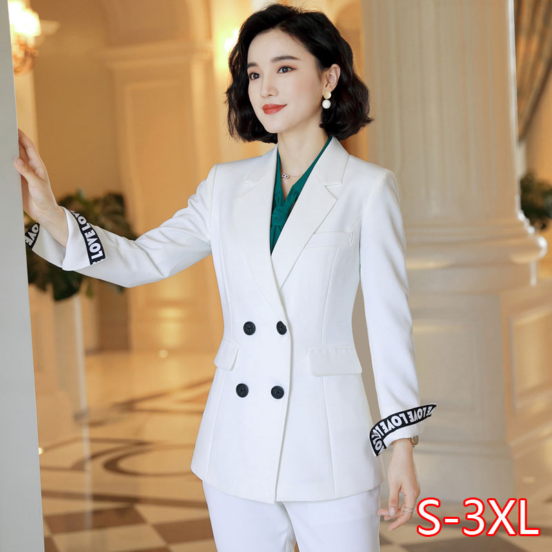 New Office Work Blazer Suits Of High Quality OL Women Pants Suit Blazers Jackets With Trouser Two Pieces Set White Green
