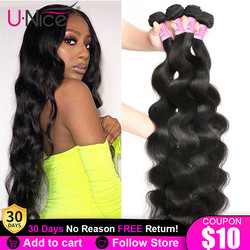 UNice Hair 28 inch Body Wave Bundles Peruvian Hair Bundles 100% Human Hair Extensions Virgin Hair Weave Natural Color 1 Piece