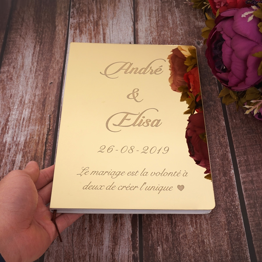 26cm X 19cm Custom Delicate Wedding Signature Guest Book Personalized White Blank Sheet Check In Books Party Decor Supplies