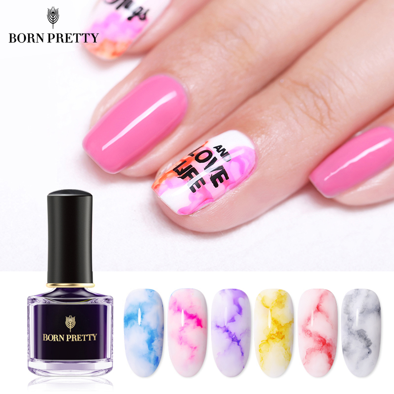 BORN PRETTY Blooming Nail Polish 6ml Gradient Watercolor Ink Blue Purple Nail Art Varnish  DIY Design