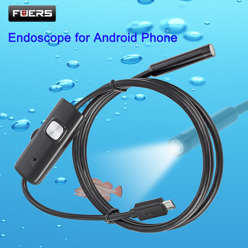 FUERS 2M 1,5 M 1M 5,5mm 7mm endoscopio para Android Phone USB Mini cámara impermeable 6 LED boroscopio cámara de inspección para automóviles para PC