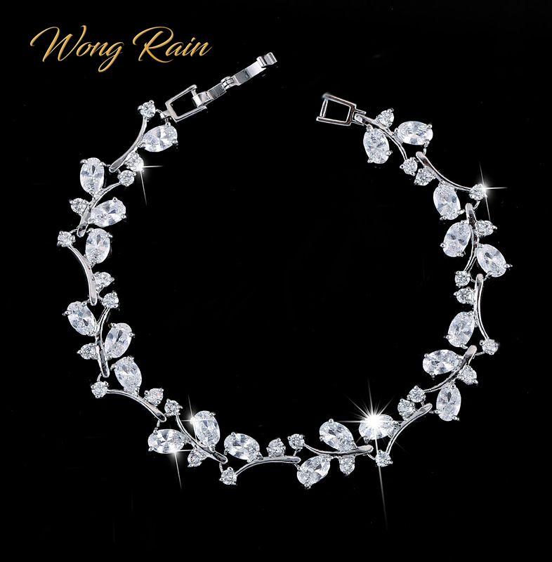 Wong Rain 100% 925 Sterling Silver Created Moissanite Ruby Gemstone Bangle Cuff Charm Diamonds Bracelets Fine Jewelry Wholesale