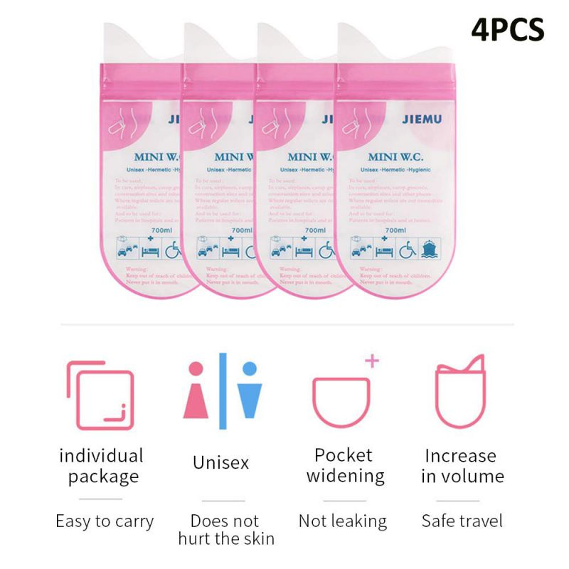 Balight 700ML 4Pcs Emergency Urine Bag Vomit Bags Travel Outdoor Toilet Car Disposable Non-toxic Storage Carry Mobile Toile