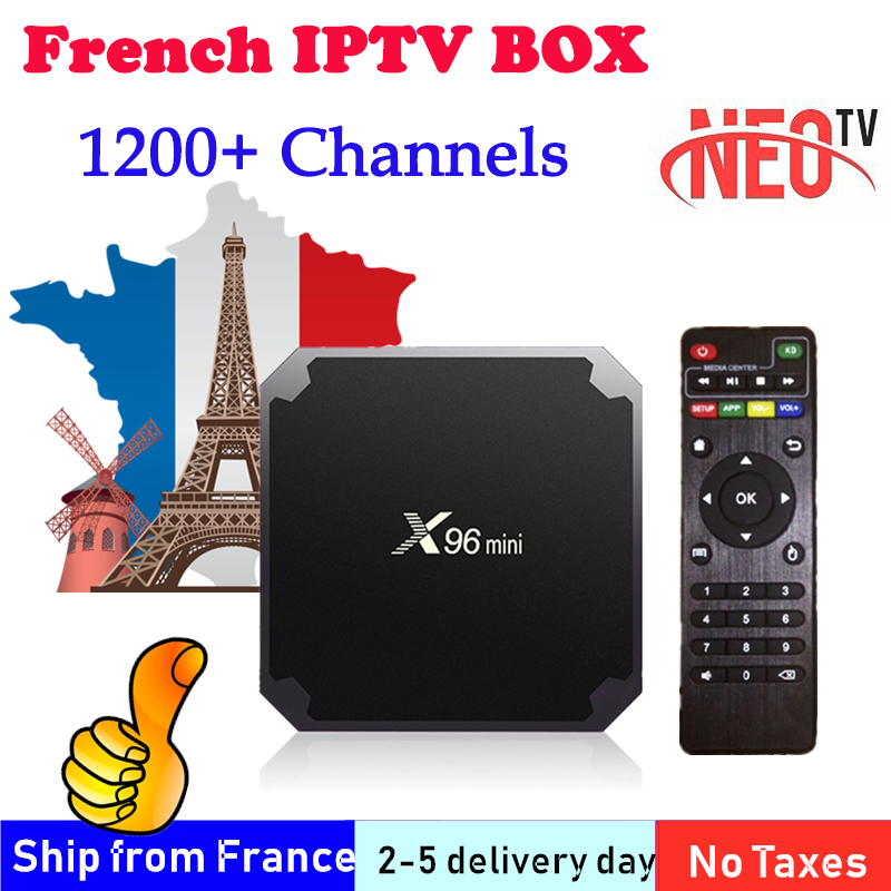 French IPTV X96 Mini Smart TV BOX 2Gb 16GB 1200+ NEOTV One Year IPTV Subscription Europe Arabic France M3U Android IPTV BOX