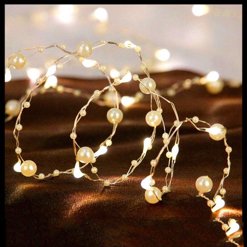 20LED String Lights 4.5V Battery Copper Wire Pearl String Light Warm White Christmas String Lamp For Garden Home Decoration