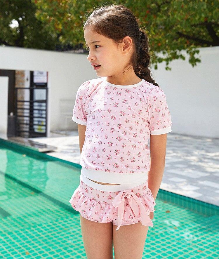 2020 New Style KID'S Swimwear Big Boy Pink Floral-Print T-shirt GIRL'S Split Type Hot Springs Three-piece Set Swimwear