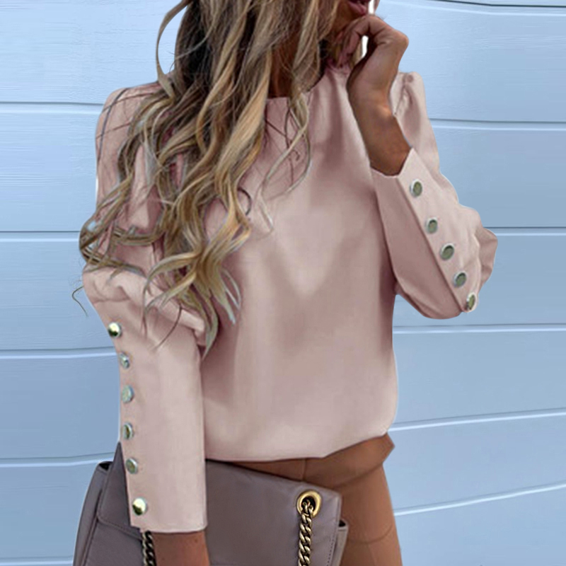 DIHOPE Puff Shoulder Blouse Shirts Office Lady New Autumn Metal Buttoned Detail Blouses Women Pineapple Print Long Sleeve Top