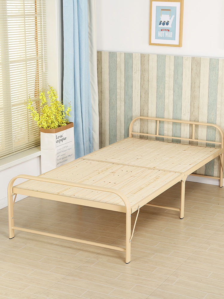 Folding Bed Single Home Lunch Break Office Nap Hard Board Bed Wire Camp Bed Rental Room Simple Double Bed