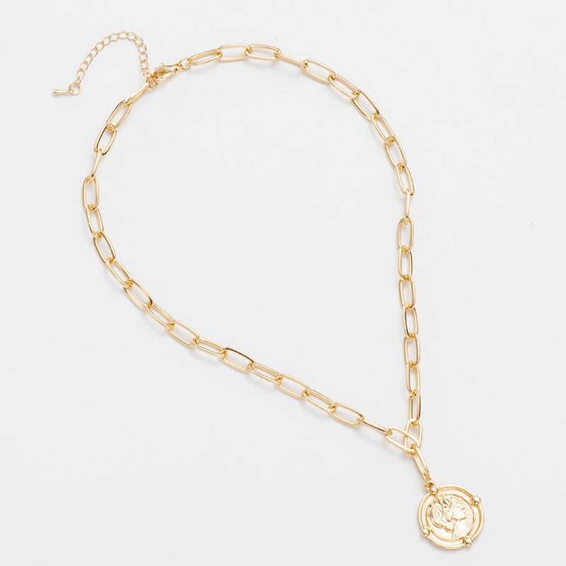 ไข้ฟรี Minimalism เครื่องประดับเหรียญยาว Gold สร้อยคอแกะสลัก Rune จี้สร้อยคอสำหรับหญิง Choker ของขวัญ