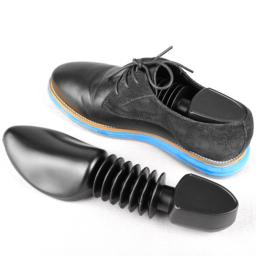 Women Men Plastic Spring Shoe Tree Stretcher Shaper Automatic Support Adjustabale Mini Shoe Tree Shaper Black
