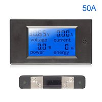 Medidor de energía Digital voltímetro de CC amperímetro wattímetro Monitor de potencia kW con medidor de corriente de voltaje de derivación probador de batería|Medidores de voltaje| |  -