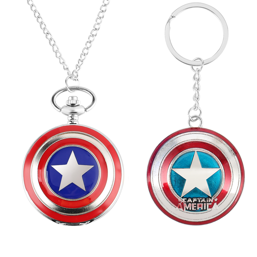 Pocket Watch Key Ring Gift Set Superhero Theme Watch Captain America Ironman Spideman Avengers Shield Kid Fans Best Gifts