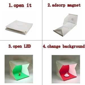 Image 3 - 2 LED מתקפל Lightbox 40cm נייד שולחן ירי Softbox צילום סטודיו תמונה Softbox מתכוונן בהירות אור תיבה
