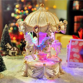 Merry-go-round Windup Music Box Luxury Dream 3-Horse Rotating Carousel Reuge Music Box Movement Toys For Kids Children Gift dream box