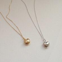 Collier en argent sterling 925 en forme de cœur pour femmes, bijou au design élégant et simple, chaîne claviculaire sauvage, breloques de tempérament noble
