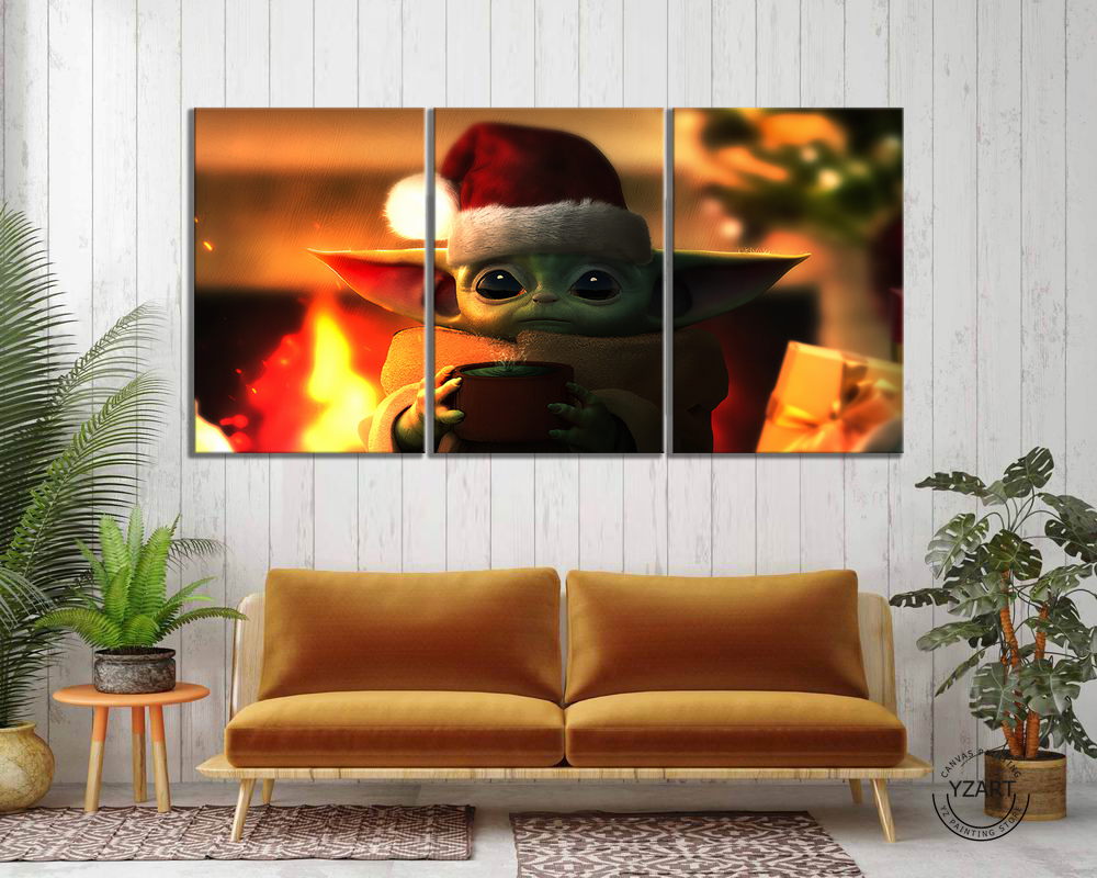 3pcs Baby Yoda Mandalorian Movie Poster Paintings Star Wars Poster Canvas Paintings Wall Art Home Decor image