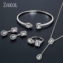 Модный дизайнерский комплект ювелирных изделий от бренда ZAKOL, серьги с чешским камнем, браслет и кольцо на запястье для женщин, помолвка, FSSP3011