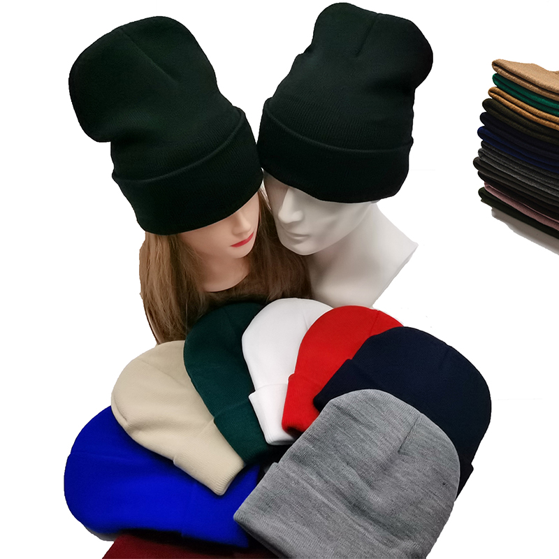 Winter Autumn Solid Color Adult Child Unisex Beanies Hats Large Big Ice Cream Windproof Keep Warm Cold Caps Plus Size Men W24