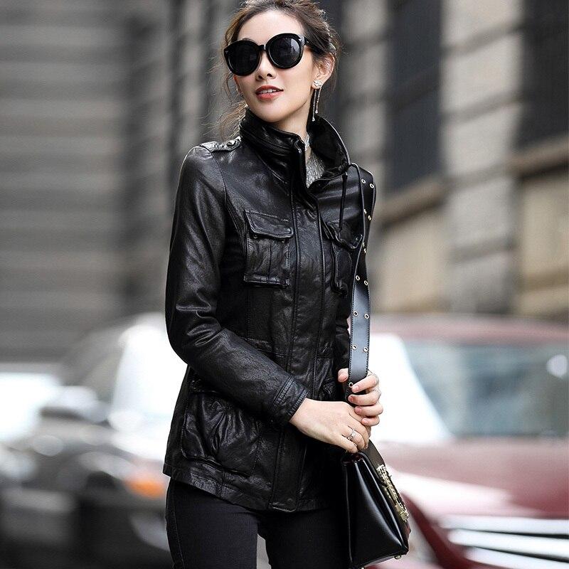Plus Size 6XL 100% Real Sheepskin Coat Female Genuine Leather Long Slim Jackets Women Outerwear Jaqueta De Couro WYQ793