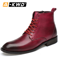 Fashion Pointed Men Winter Boots With Fur Five Colors Man Boots Shoes Bullock Ankle Men's Boots Casual Male Leather Shoes 35 47