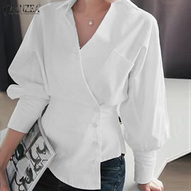Elegant Women V Neck Long Sleeve Office Work Blouse ZANZEA Spring Lace Up Tops Casual Buttons Down White Shirt Stylish OL Blusas