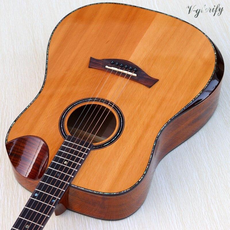 Guitare acoustique-électrique supérieure en bois solide professionnelle de cèdre rouge avec le coin de radian guitare acoustique de liaison de pleine coquille de 41 pouces