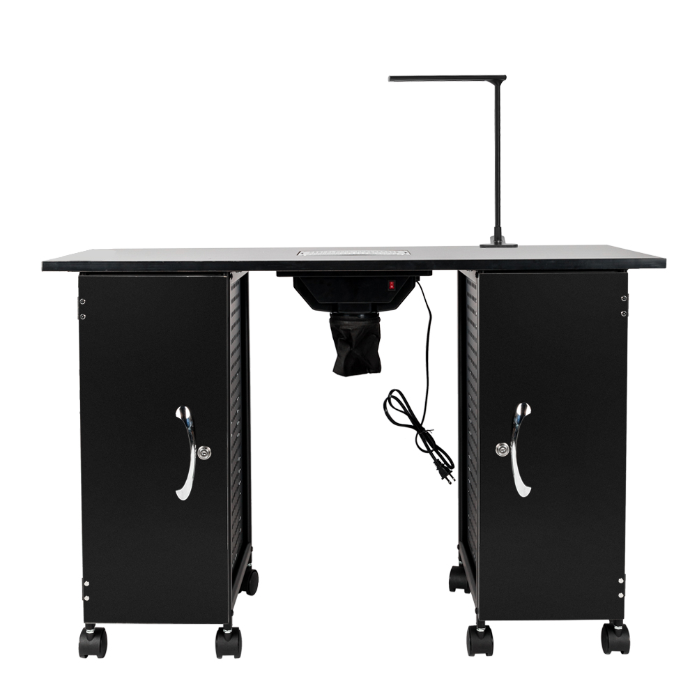 Professional Iron Manicure Station Large Table With LED Lamp & Arm Rest Salon Spa Nail Equipment Black