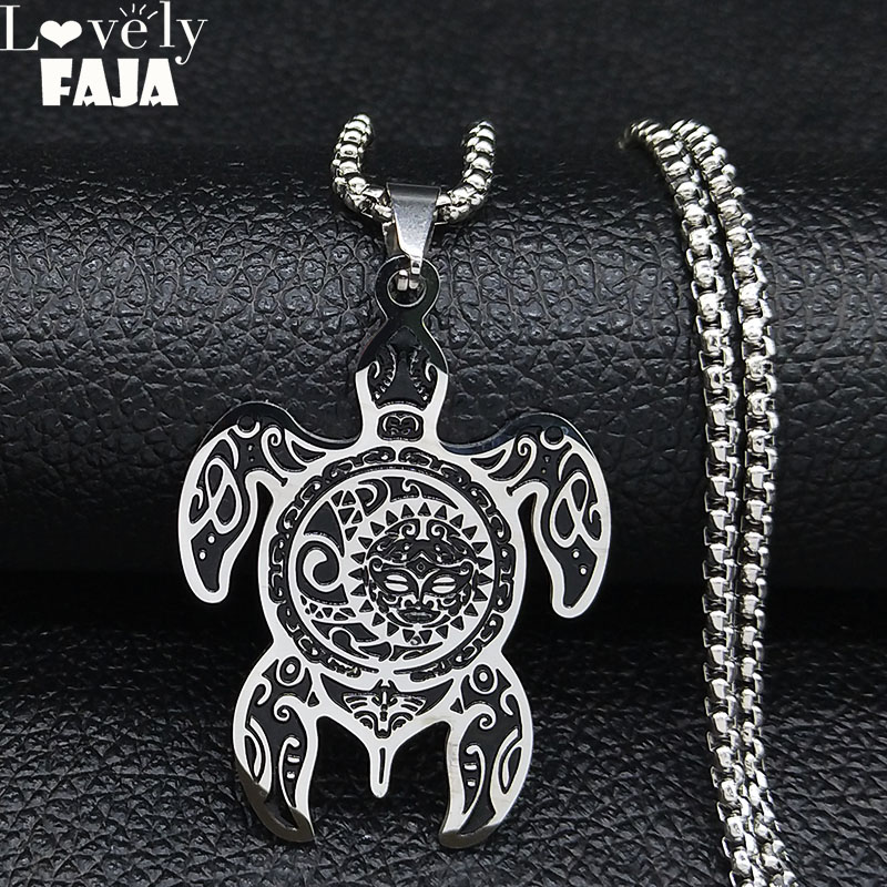 Sun and Moon Stainless Steel Turtle Necklace for Men Silver Color Necklaces Jewelry Christmas Gift cadena hombre N3234S03