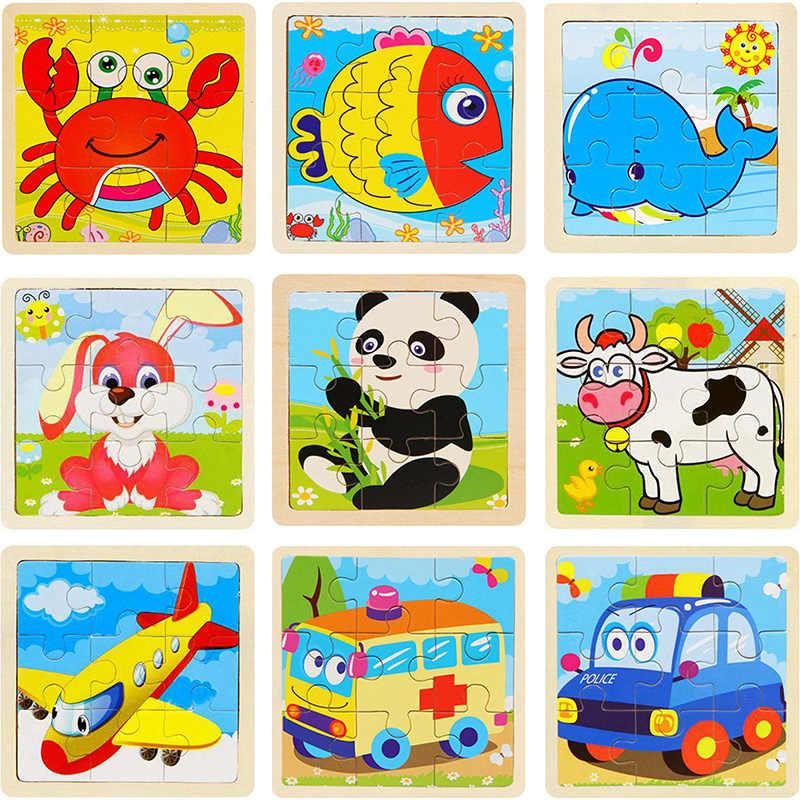 Puzzle di Cartone Animato Animale Traffico Puzzle di Legno Elefante Panda Del Bambino 3D Puzzle per Bambini Giocattoli Educativi di Legno Animale Del Fumetto Puzzle