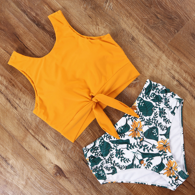 High Waisted Swimsuit Bikini 2020 Push Up Swimwear Women Sexy Bathing Suit Female Vest Bikini Set Leopard Swim Suit Beachwear 6