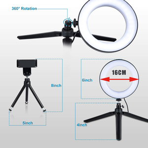 Image 2 - Selfie Makeup Live Vlog Streaming YouTube Fill Ring Light Photography Ringlight Lamp LED Dimmable Tripod Stand Phone Holder