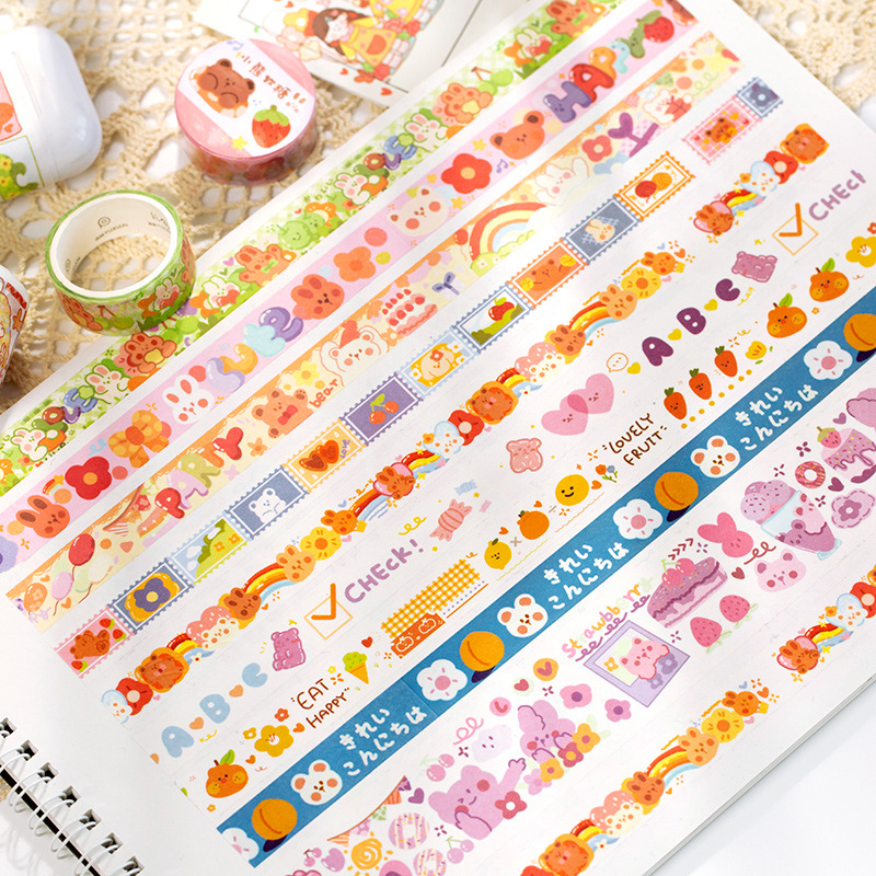 1pcs Washi Tapes DIY Japanese Paper Colorful Fairy Tale Town Masking Tape Decorative Adhesive Tapes Scrapbooking Stickers