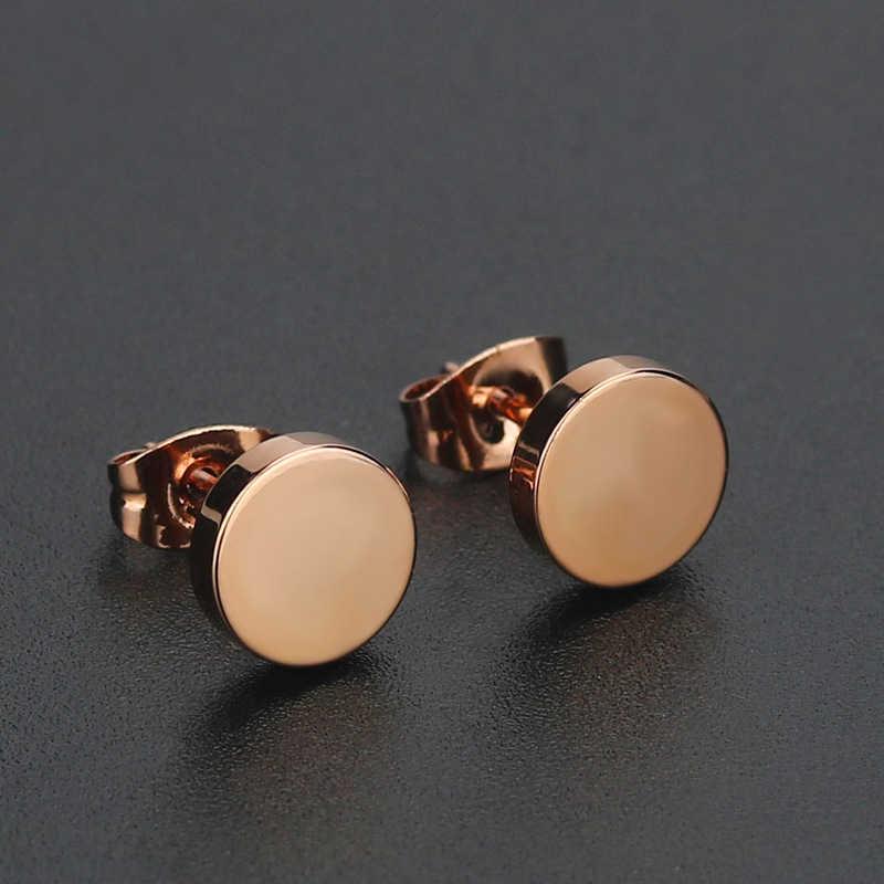 1 זוג פאנק 3-12MM עגול נירוסטה Stud עגילי נשים זהב צבע פשוט היפ הופ גברים אוזן תכשיטי עגילי חמה