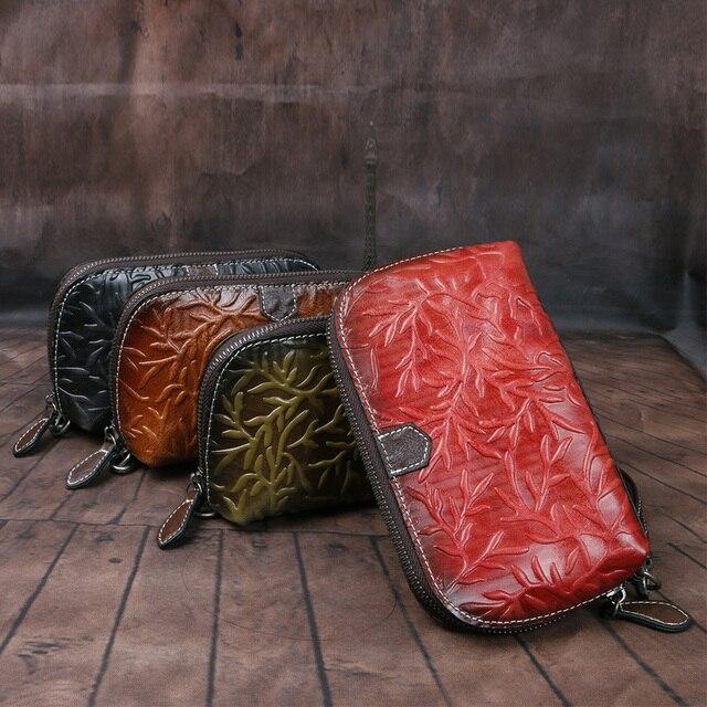 Johnature rétro luxe main portefeuille 2020 nouveau en cuir véritable à la main gaufrage femmes portefeuilles et sacs à main loisirs jour embrayages