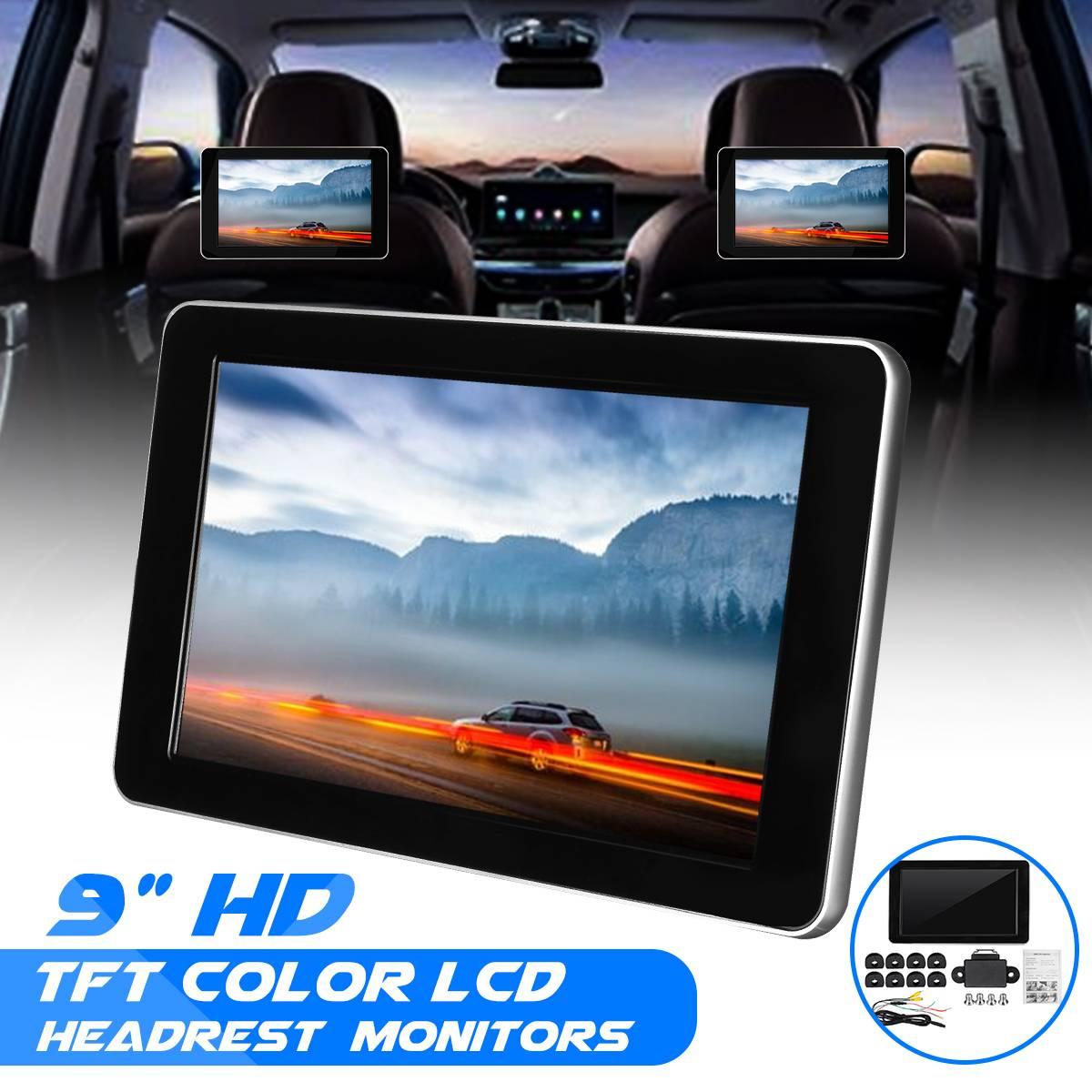 9 Inch Car Headrest Display TFT LCD Screen Car Player Headrest Monitor Support AV Support Backup Car Camera Display Video 918AV