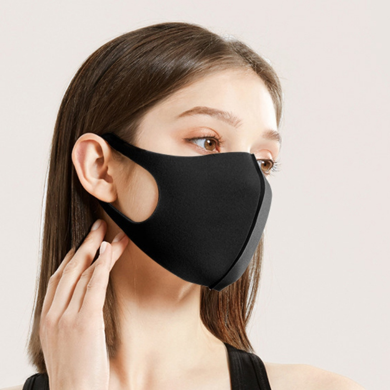 3PCS Breathable Washable Anti-dust Anti-fog Black Color Mask Mouth Face Respirator Masks For Men Women Adults