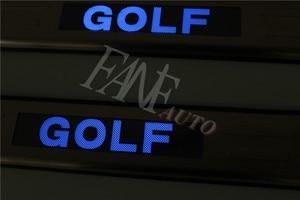 Image 3 - נירוסטה Led דלת אדן שפשוף צלחת משמר אדני מגן Trim עבור פולקסווגן פולקסווגן גולף 6 MK6 גולף R GTI 2008 2012