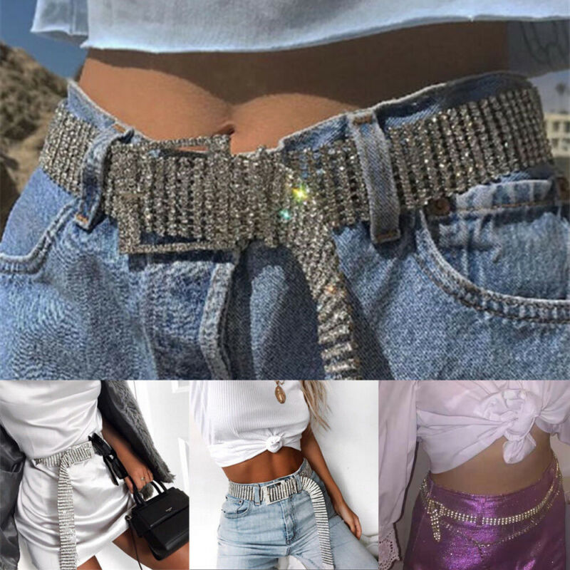 Women Shiny Belt Waist Chain Crystal Diamond Waistband Full Rhinestone Luxury